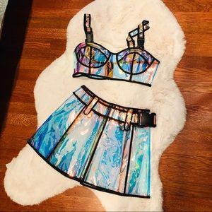 Club Exx Dolls Kill Bubblegum clear bra and skirt